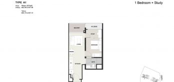 Clavon-1bed-+Study-Floor-Plan-Type-A1