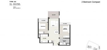 Clavon-2bed-Floor-Plan-Type-B1